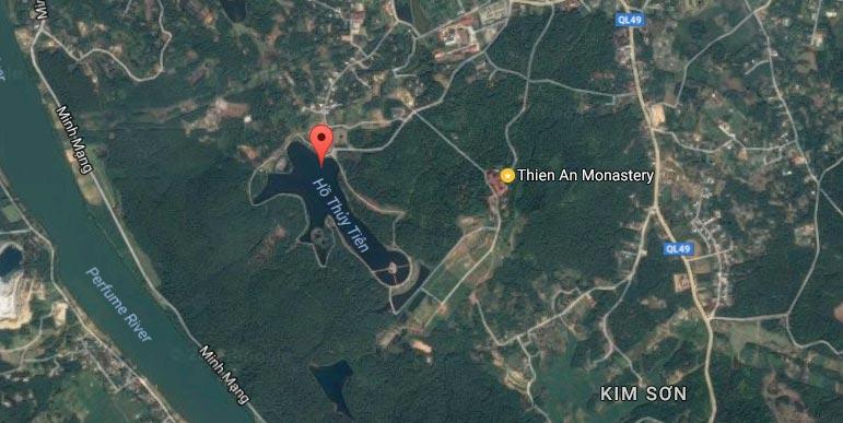 Vị trí hồ Thủy Tiên trên bản đồ Huế