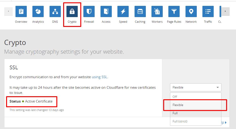cài đặt dịch vụ Cloudflare 14 - active Flexible SSL