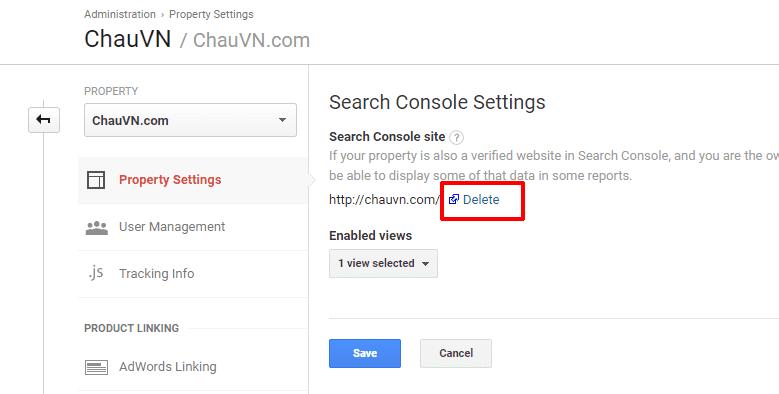 cài đặt dịch vụ Cloudflare 25a - Search console setting delete