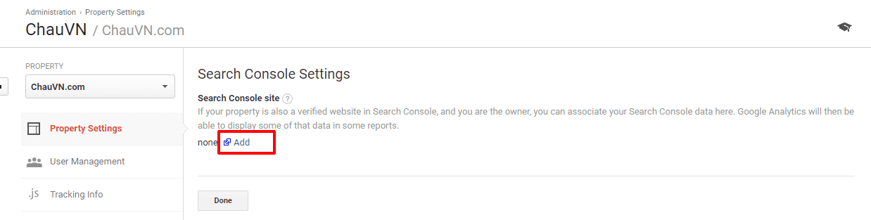 cài đặt dịch vụ Cloudflare 26 - Search console setting add