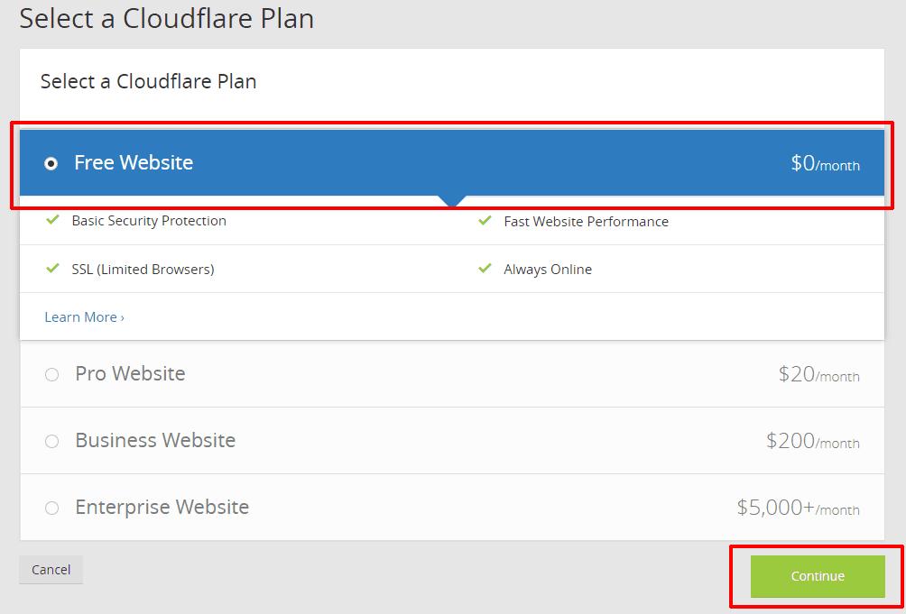 cài đặt dịch vụ Cloudflare 6 - Free website