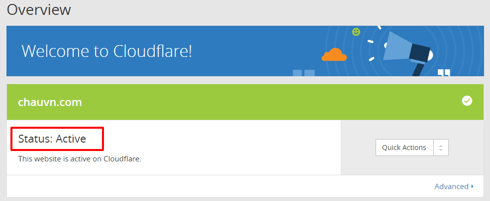 cài đặt dịch vụ Cloudflare 9 - website active