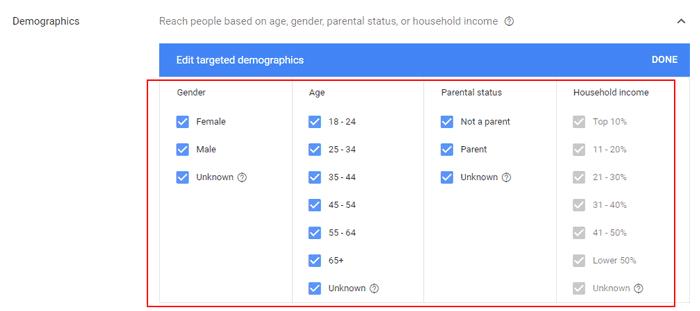 Hướng dẫn Cài đặt Google Dynamic Remarketing 25 - Choose demographics