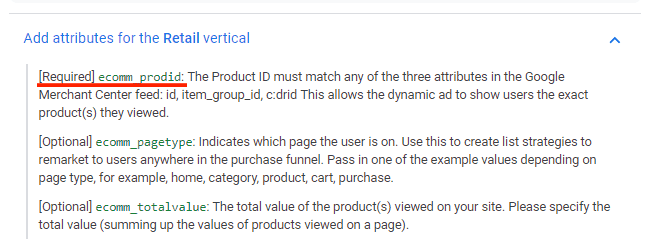 Hướng dẫn Cài đặt Google Dynamic Remarketing 5 - Thuộc tính sản phẩm