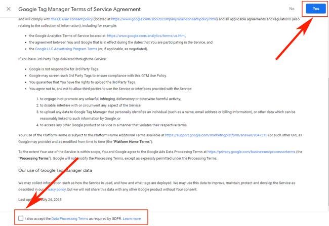 Hướng dẫn sử dụng Google Tag Manager (GTM) 13 - Create GTM account TOS