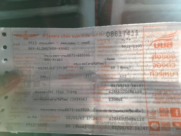 Vé bus đi Krabi in Bangkok Thailand